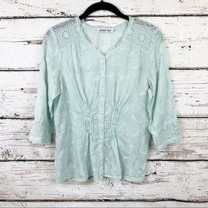 Johnny Was Eyelet Lace Scallop Mint 3/4 Blouse